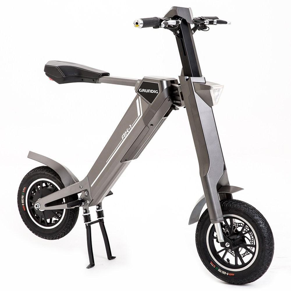 GRUNDIGAK-1折りたたみ式電動スクーター12インチE-バイク折りたたみ式アルミニウム合金シェル350Wモーター内蔵BluetoothスピーカーLCDグレー