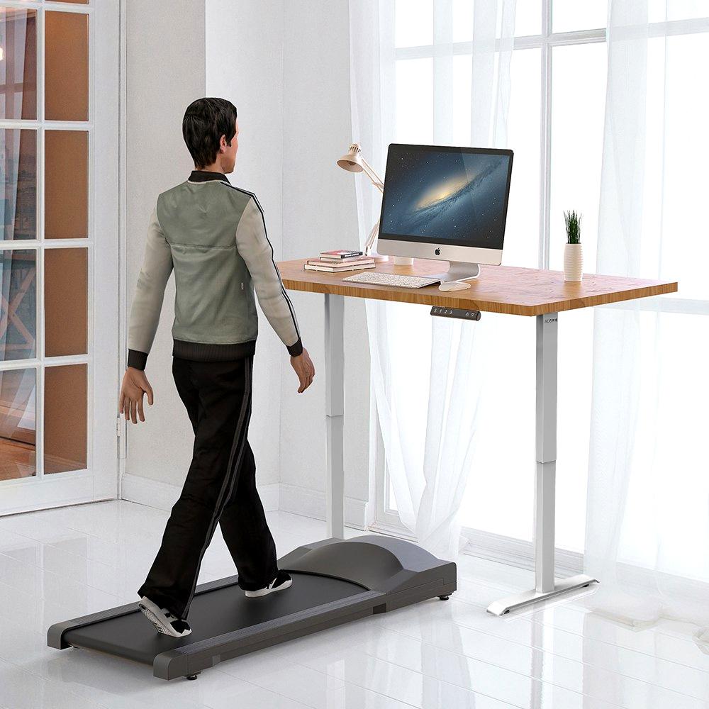 ACGAM Einmotorige zweistufige Beine Elektrische Stehpult-Rahmen-Workstation, ergonomische, höhenverstellbare Schreibtischbasis Gaming-Schreibtisch Grau (nur Rahmen)
