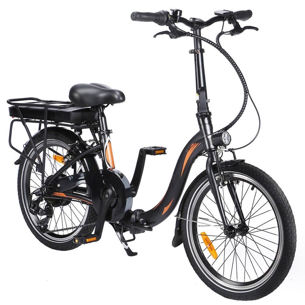 Dohiker 20F054 250W Bicicleta eléctrica Marco plegable de 20 pulgadas Engranajes de 7 velocidades con luz LED de batería extraíble 10AH - Negro