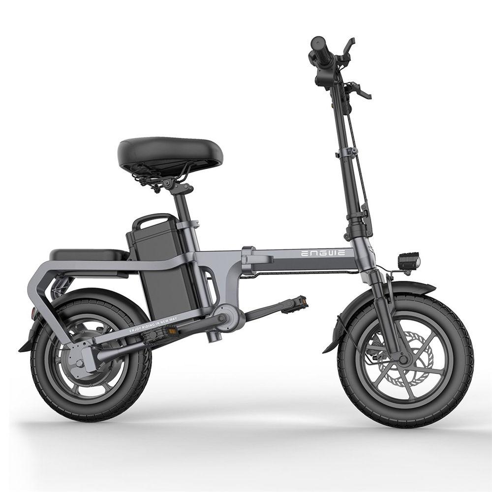 ENGWE X5S Vélo électrique pliant 14 pouces sans chaîne Moteur 350W Batterie 48V 15Ah Cadre en acier au carbone haute résistance Vitesse maximale 25 km / h - Gris