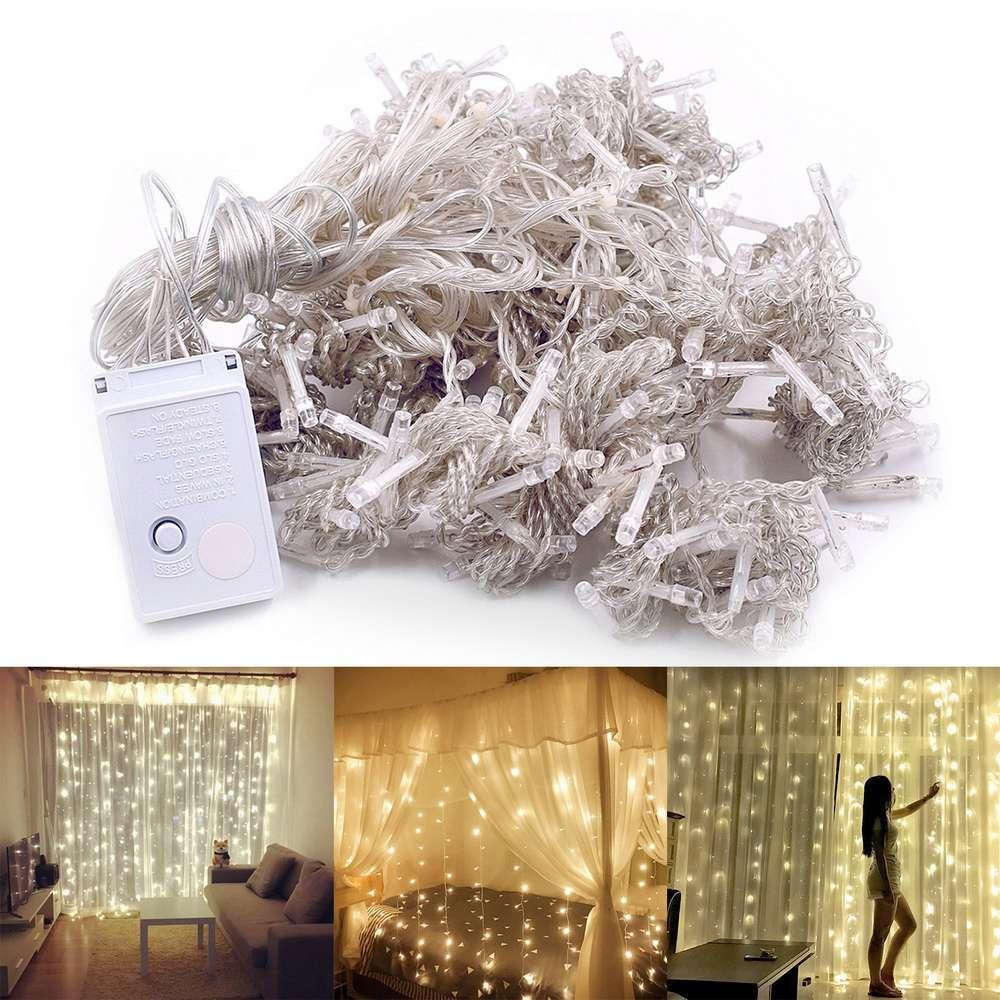 3м x 3м 110V Светодиодный декоративный тандемный светильник 300 ламп На открытом воздухе Рождественское украшение Свадебные занавески - теплый белый свет