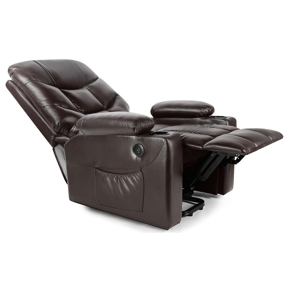 Élévateur électrique en cuir multifonction Massage inclinable à la taille chauffant l'eau et la pollution résistant à la lecture au repos en regardant la télévision - marron