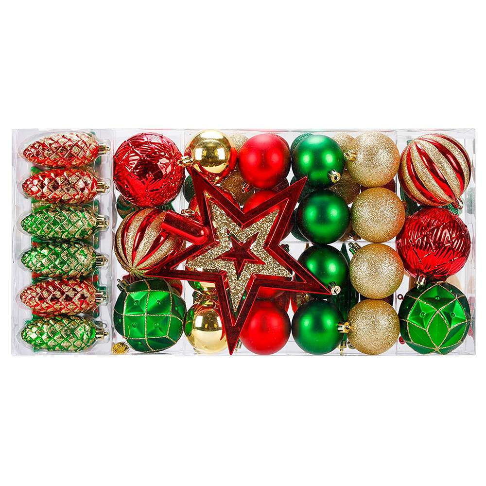 88 Parça Kırılmaz Yeni Yıl Noel Ailesi Düğün Parti Dekorasyon Topları - Renkli
