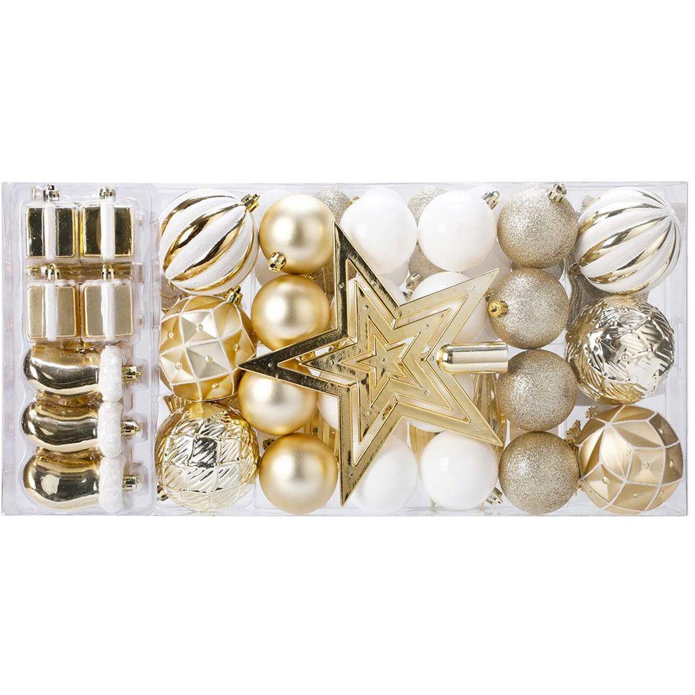 88 Parça Kırılmaz Yeni Yıl Noel Ailesi Düğün Parti Dekorasyon Topları - Altın