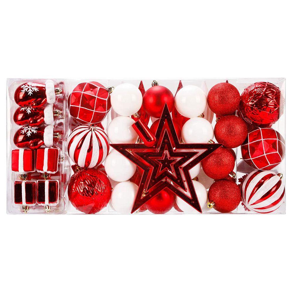 88 ชิ้นแตกป่นปี้ปีใหม่คริสต์มาสครอบครัวงานแต่งงานตกแต่งลูกบอล - สีแดง