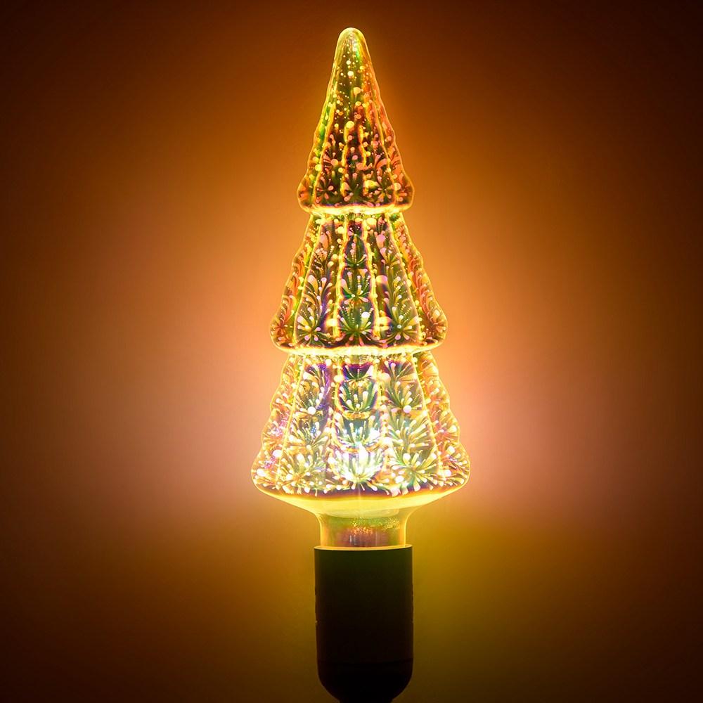 Рождественская елка 3D фейерверк Светодиодная лампа мощностью 6 Вт для Рождества, семьи, бара, кафе, свадебного украшения - красочный