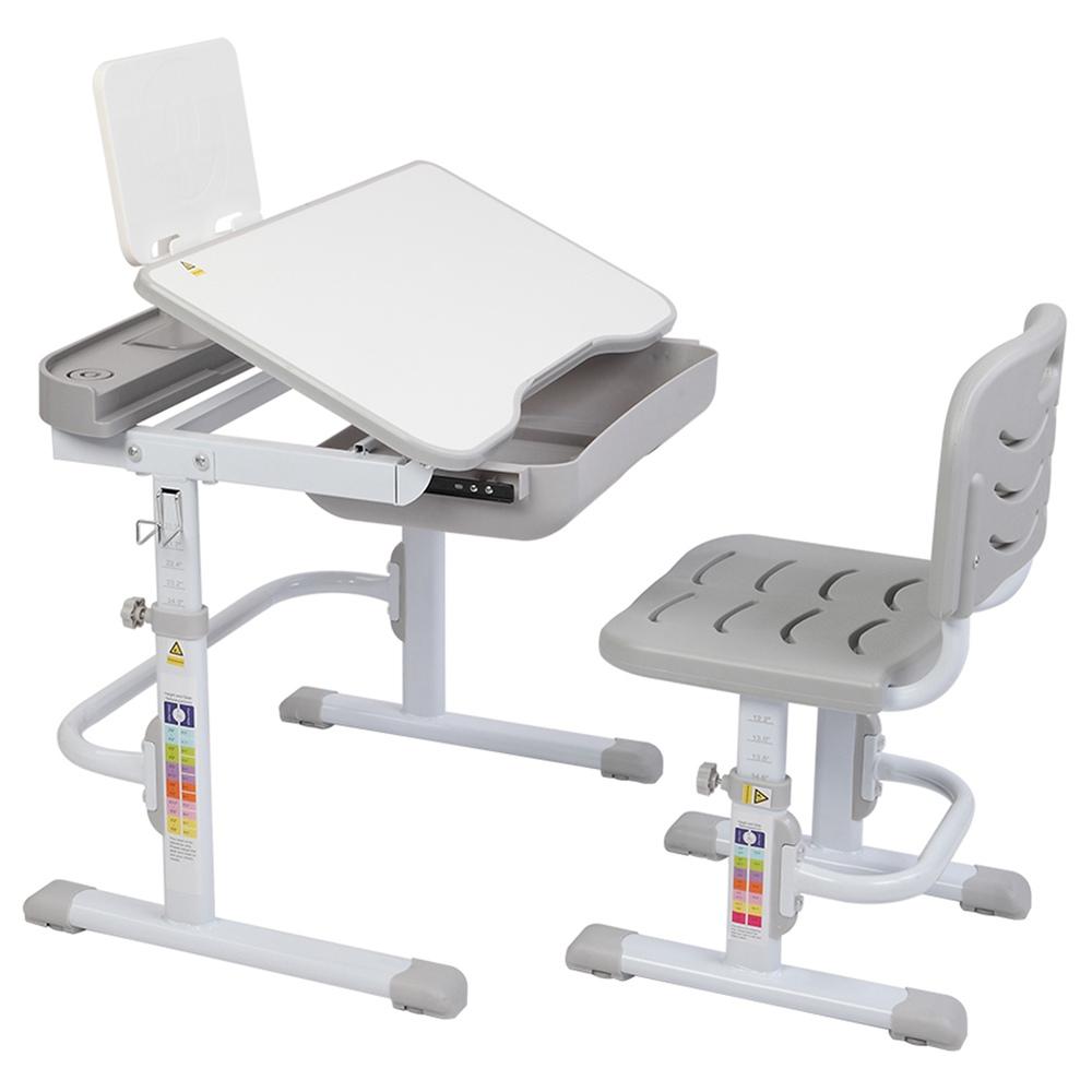 ZTGM Combinaison table et chaise antidérapante inclinable réglable en hauteur Facile à assembler et à nettoyer avec support de lecture pour que les enfants apprennent à lire - Gris