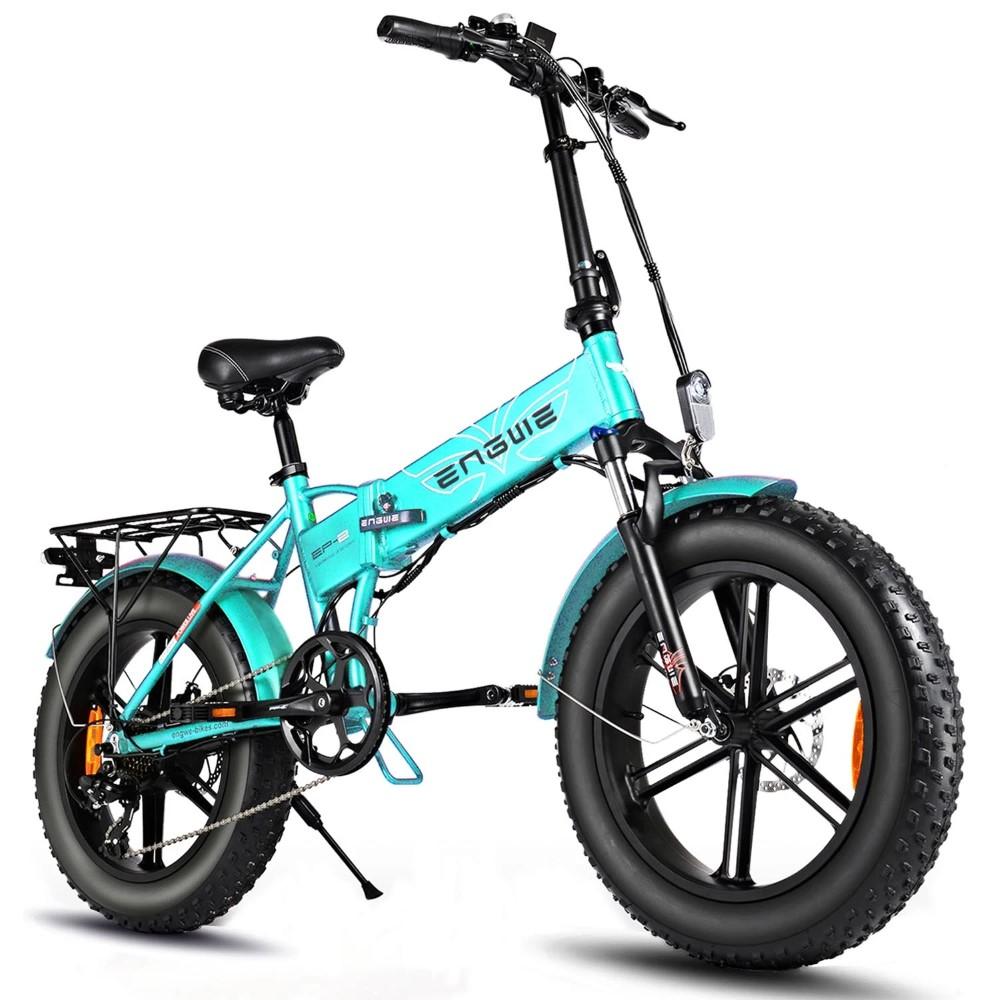 ENGWE EP-2 Pro 750W 20 inch dikke band elektrische vouwfiets bergstrand sneeuwfiets voor volwassenen aluminium elektrische scooter 7 versnellingen e-bike met verwijderbare 48V 12.8A LG-batterij dubbele schijf - groen