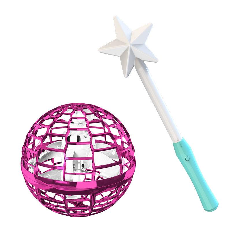 Jouets interactifs Flynova Pro Flying Spinner Boomerang avec Magic Stick Rotation 360 degrés lumières RVB dynamiques - Rose