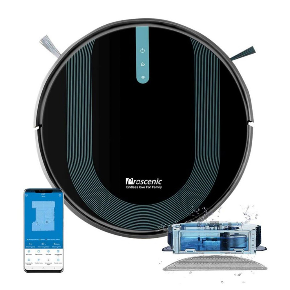 Proscenic 850T Smart Robot Cleaner 3000Pa Suction Three Cleaning Modes 500ml Dust Collector 300ml Electric Water Tank Alexa Google Home App Control - Μαύρο