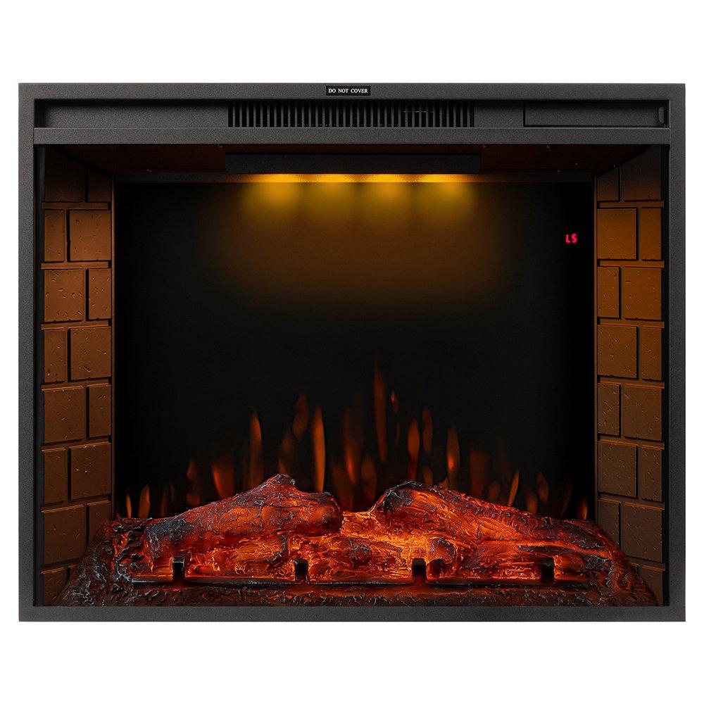 28-ιντσών ηλεκτρικό τζάκι LED φλόγα, 750 / 1500W δύο επίπεδα θέρμανσης, τηλεχειριστήριο οθόνης αφής, με χρονοδιακόπτη, λειτουργία μπορεί να χρησιμοποιηθεί μόνη της - μαύρο