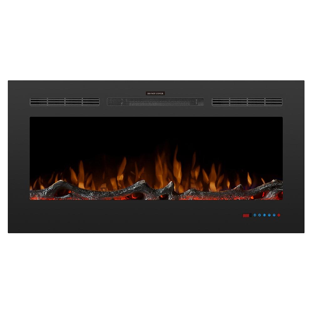 Foyer électrique à flamme à DEL de 42 pouces, deux niveaux de chauffage 750 / 1500W, télécommande à écran tactile, avec minuterie, fonction utilisable seule - noir