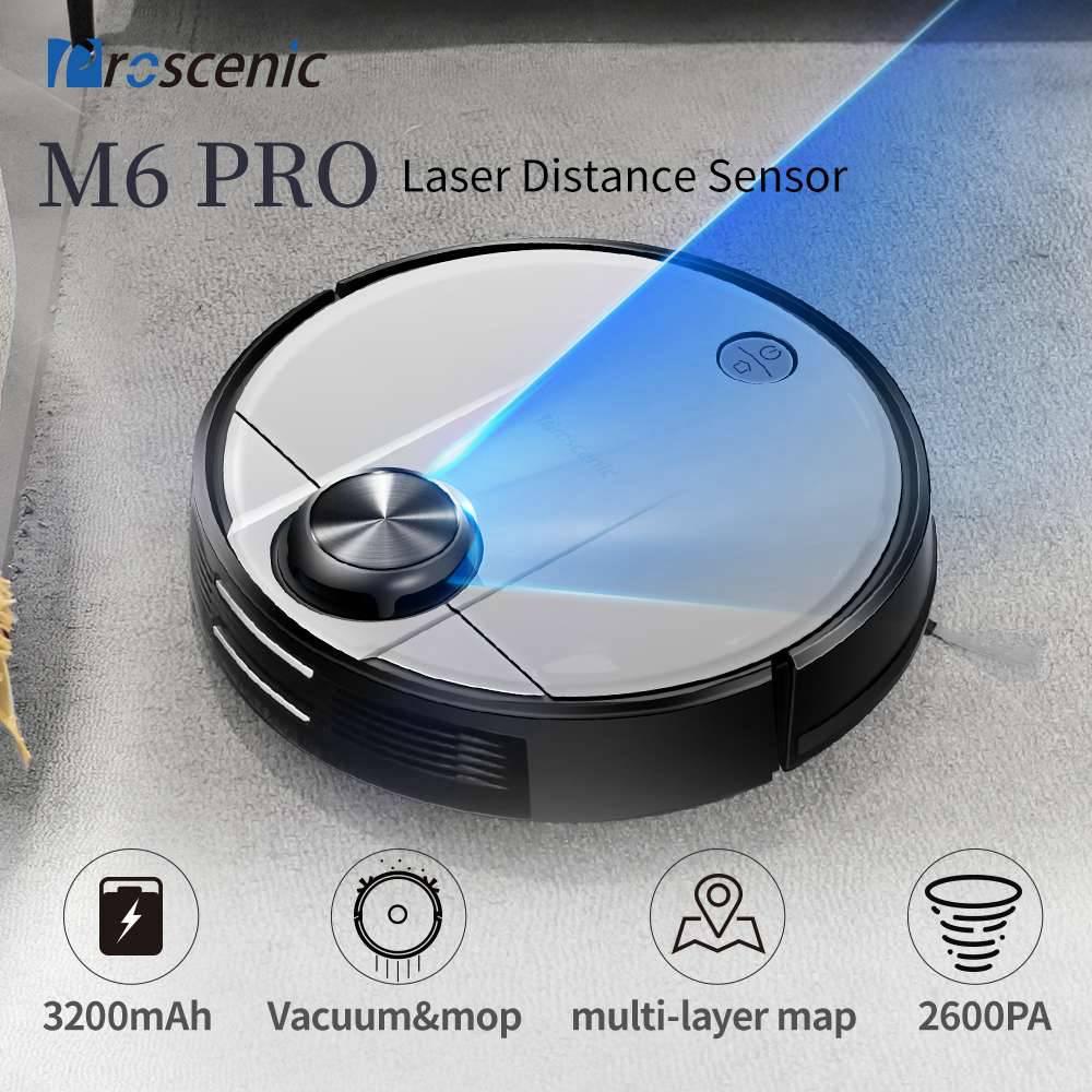 Робот-пылесос Proscenic M6 Pro LDS с лазерной навигацией, мощное всасывание 2600 Па, поддержка приложений, управление Alexa, Multi Mapping, идеально подходит для волос домашних животных, твердого пола, ковра