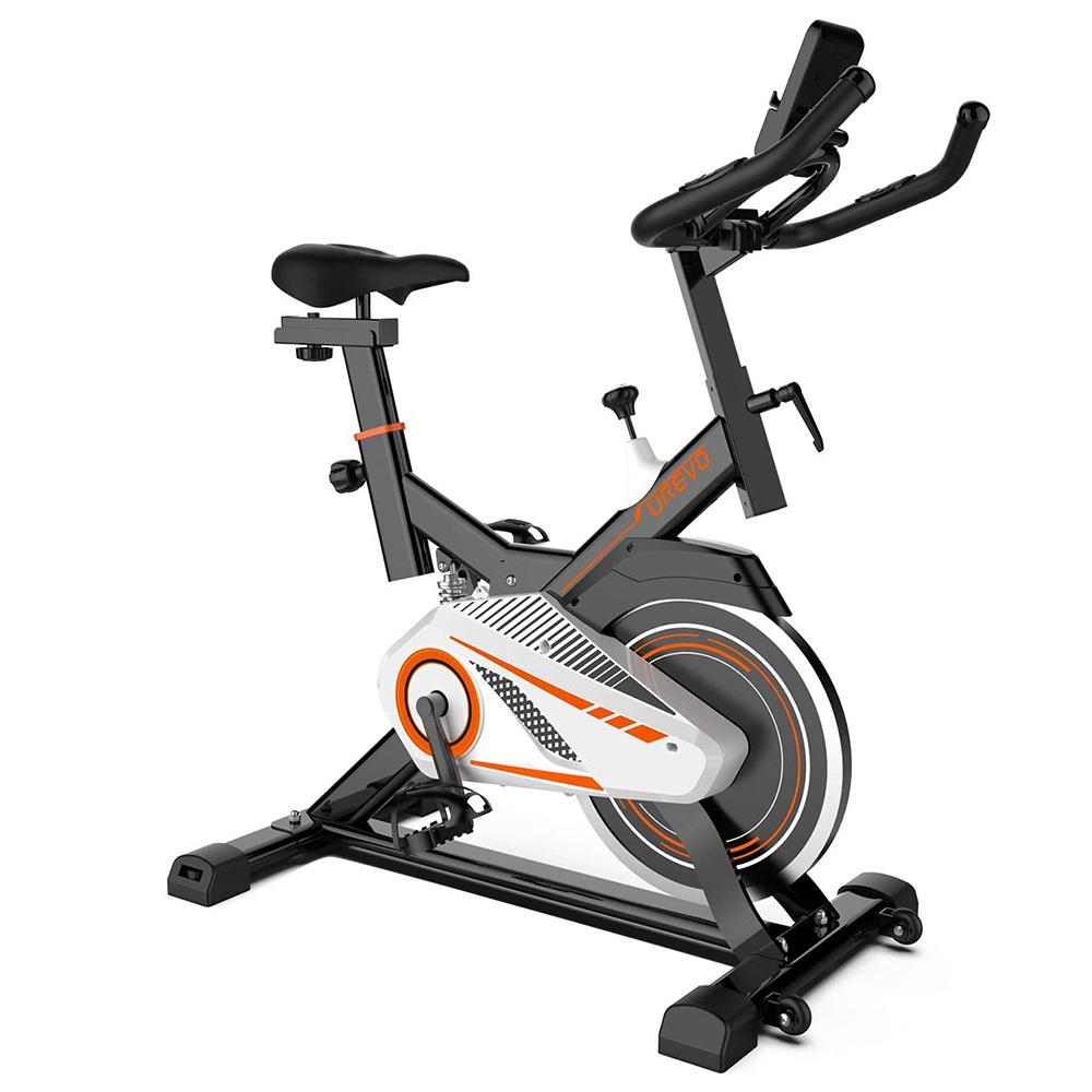 UREVO vélo de cyclisme d'intérieur exercice Fitness spinning vélo pour entraînement cardio à domicile avec siège confortable Cushi