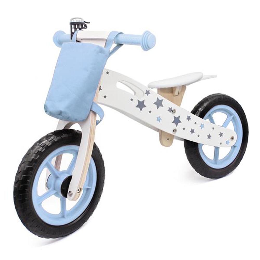 Draisienne en bois modèle étoile avec sac et cloche - Bleu
