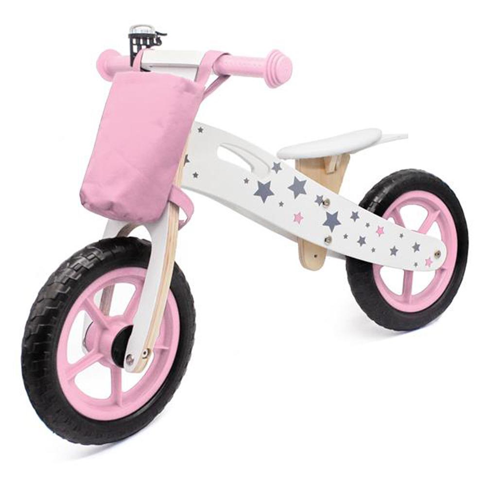 Fából készült Balance Bike Star modell táskával és csengővel - rózsaszín