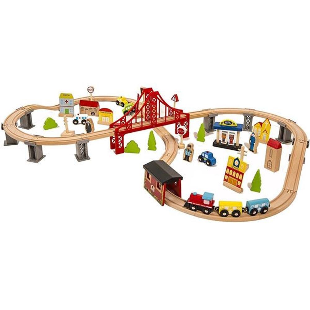 70PCS木製列車セット交差点線路鉄道子供学習おもちゃ