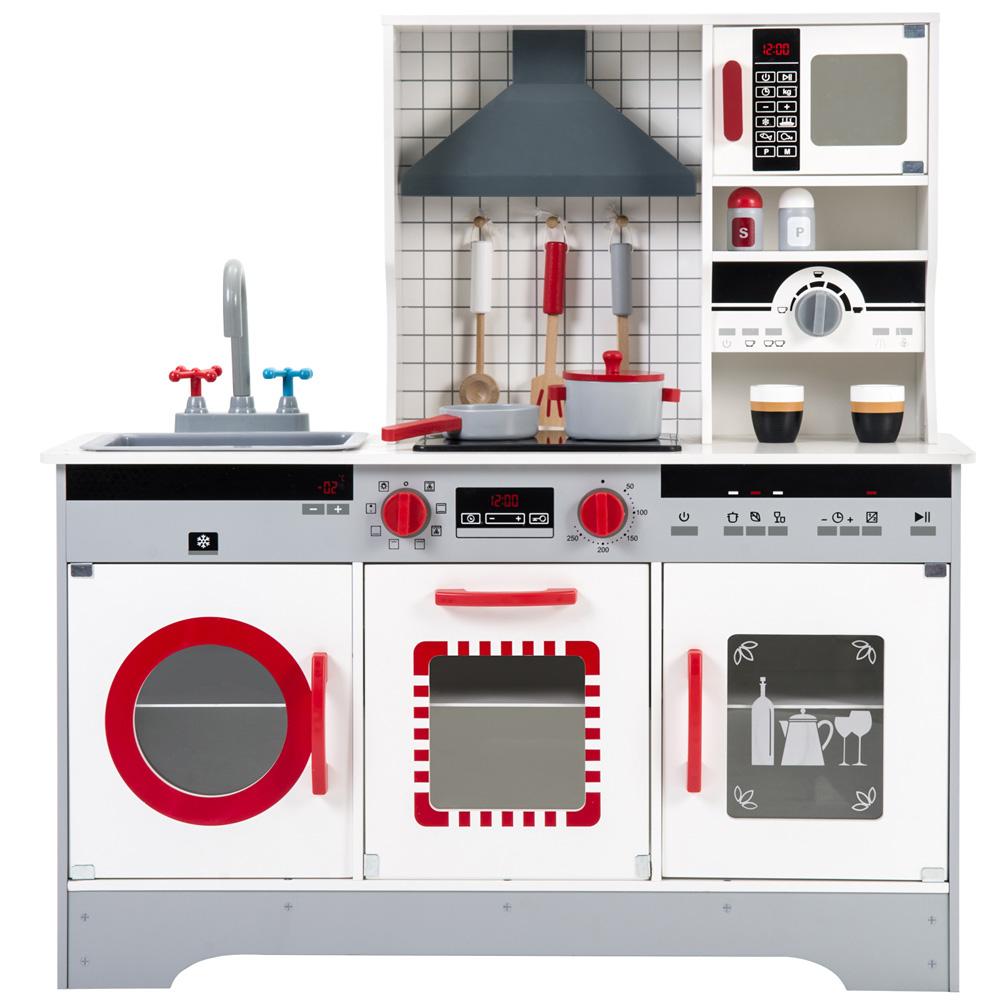 Cuisine de jeu en bois Jouet de jeu de rôle pour enfants Ensemble de jeu de cuisine pour enfants - Gris + Rouge