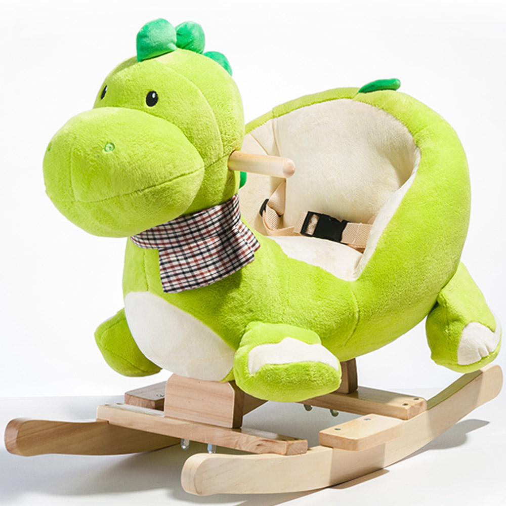 Jouet à bascule en bois de dinosaure à bascule en peluche pour enfants tout-petits - dinosaure vert
