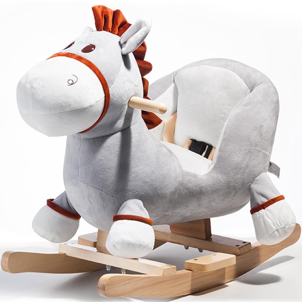 Plush Rocking Donkey Ξύλινα Rocker Παιδικά Παιδικά Rocking Toy - Γκρι Γάιδαρος