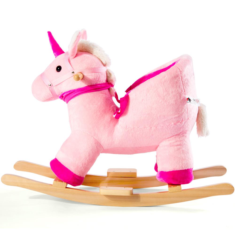 Jouet à bascule en bois Licorne à bascule en peluche pour enfants tout-petits - Licorne roses