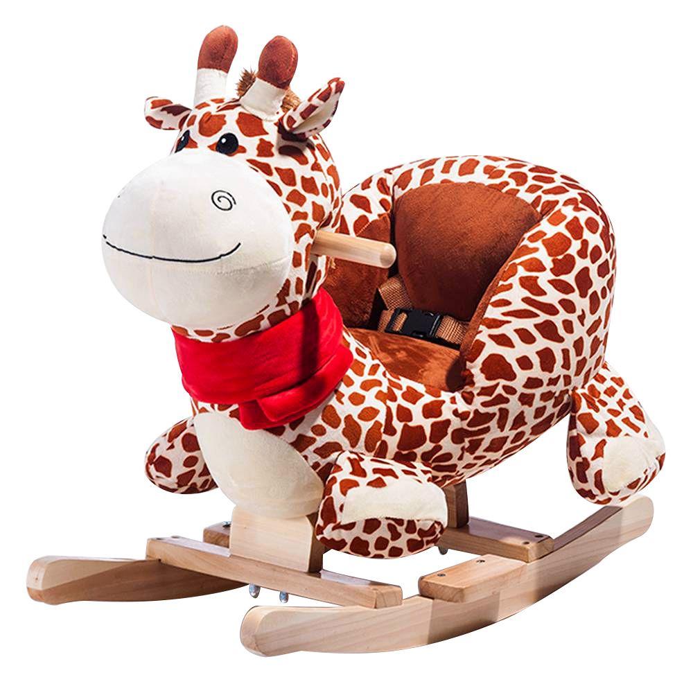 Plush Rocking Giraffe Ξύλινα Rocker Παιδικά Παιδικά Rocking Toy - Giraffe