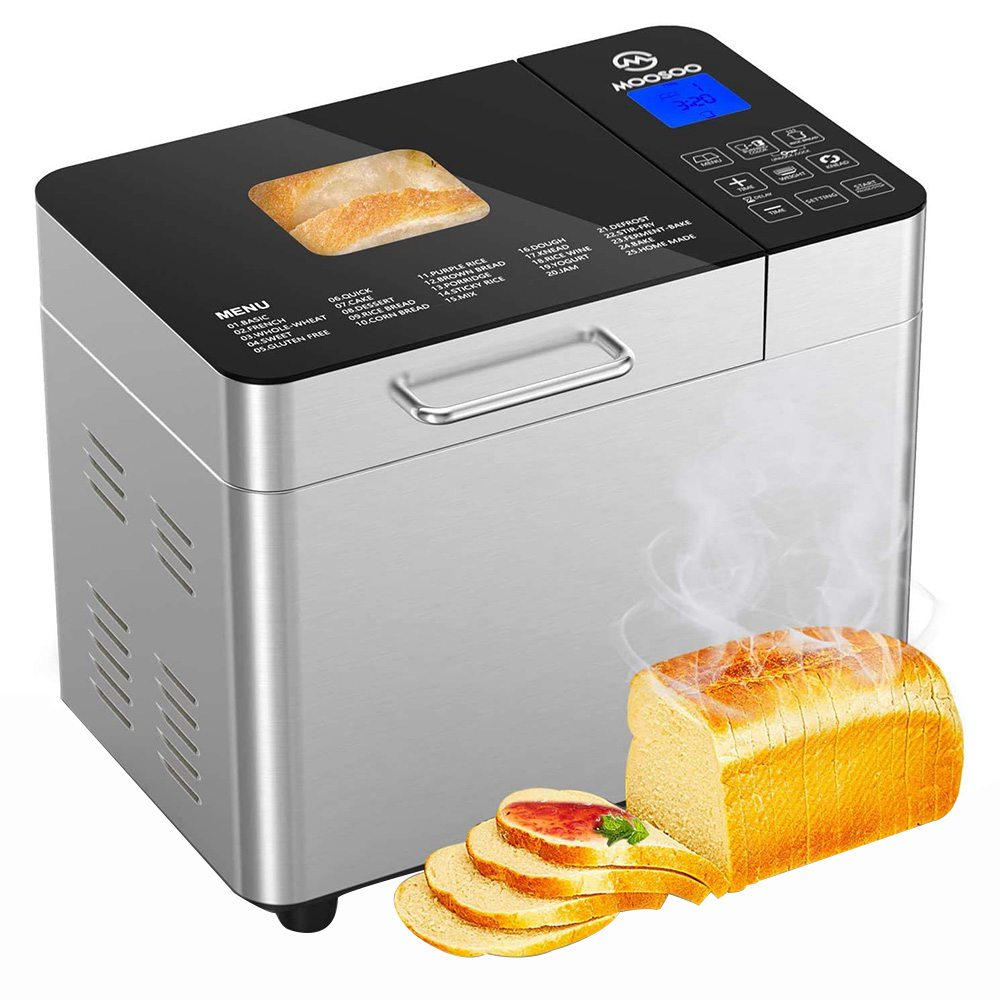 MOOSOOMB30ステンレス鋼スマートパン焼き機2LB容量600W電力25プログラムデジタルタッチスクリーンコントロールホームDIY全粒粉パン、グルテンフリーパン、ヨーグルトの製造に使用-シルバー