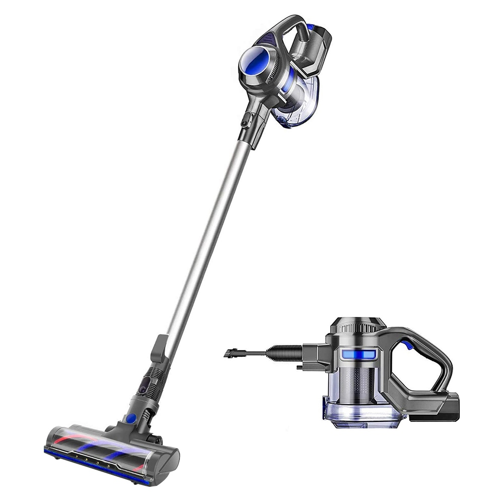 MOOSOO X6 2-in-1 Lightweight Flexible Handheld Cordless Vacuum Cleaner 10000Pa Strong Suction Two Modes 2200 mAh Battery 1.2L Dust Cup With LED Light and Wall Bracket for Hard Floor, Carpet, Pet Hair - Blue Grey