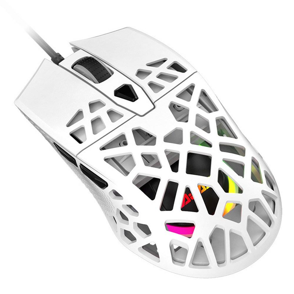 AJAZZ AJ339 جديد 65 جرام خفيف الوزن متماثل مريح تصميم قرص العسل RGB - أبيض