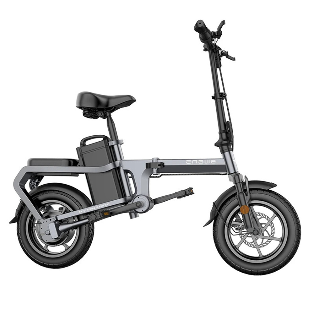 ENGWE X5S Chainless Folding 14 Inch Electric Bike 240W Motor 48V 15Ah Battery High Strength Carbon Steel Frame 20km/h - Grey