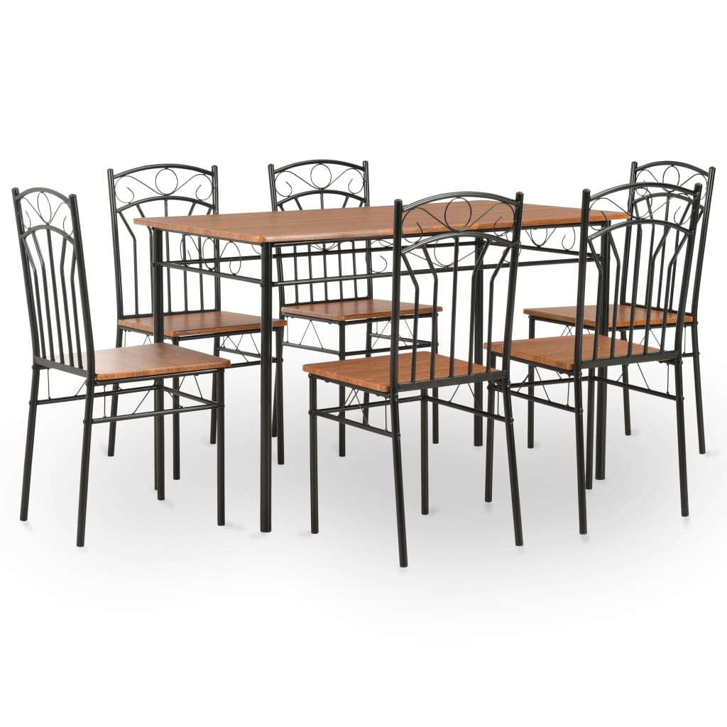 Ensemble de salle à manger 7 pièces MDF et acier brun