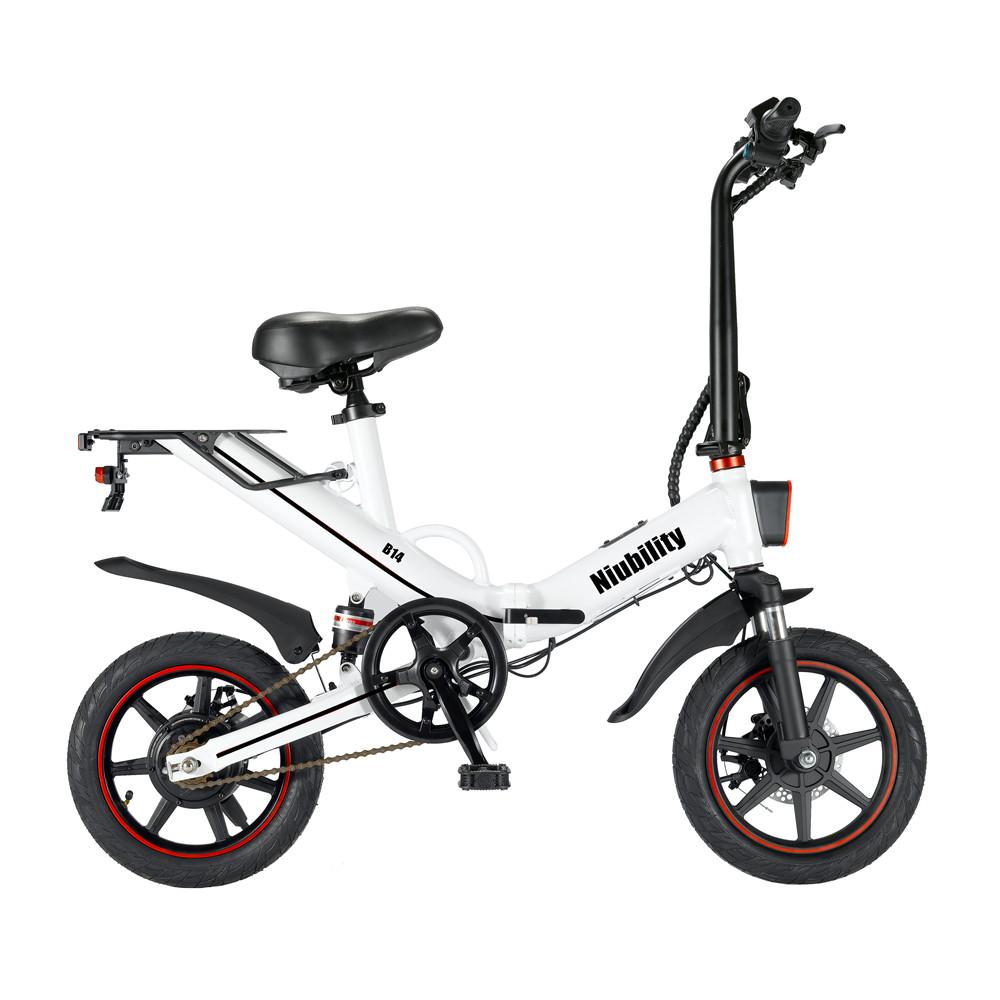 Niubility B14 elektromos moped összecsukható kerékpár 14 hüvelykes 15Ah akkumulátor akár 100 km-ig Futásteljesítmény max. 25 km / h 400 W-os motor kettős tárcsafék - fehér