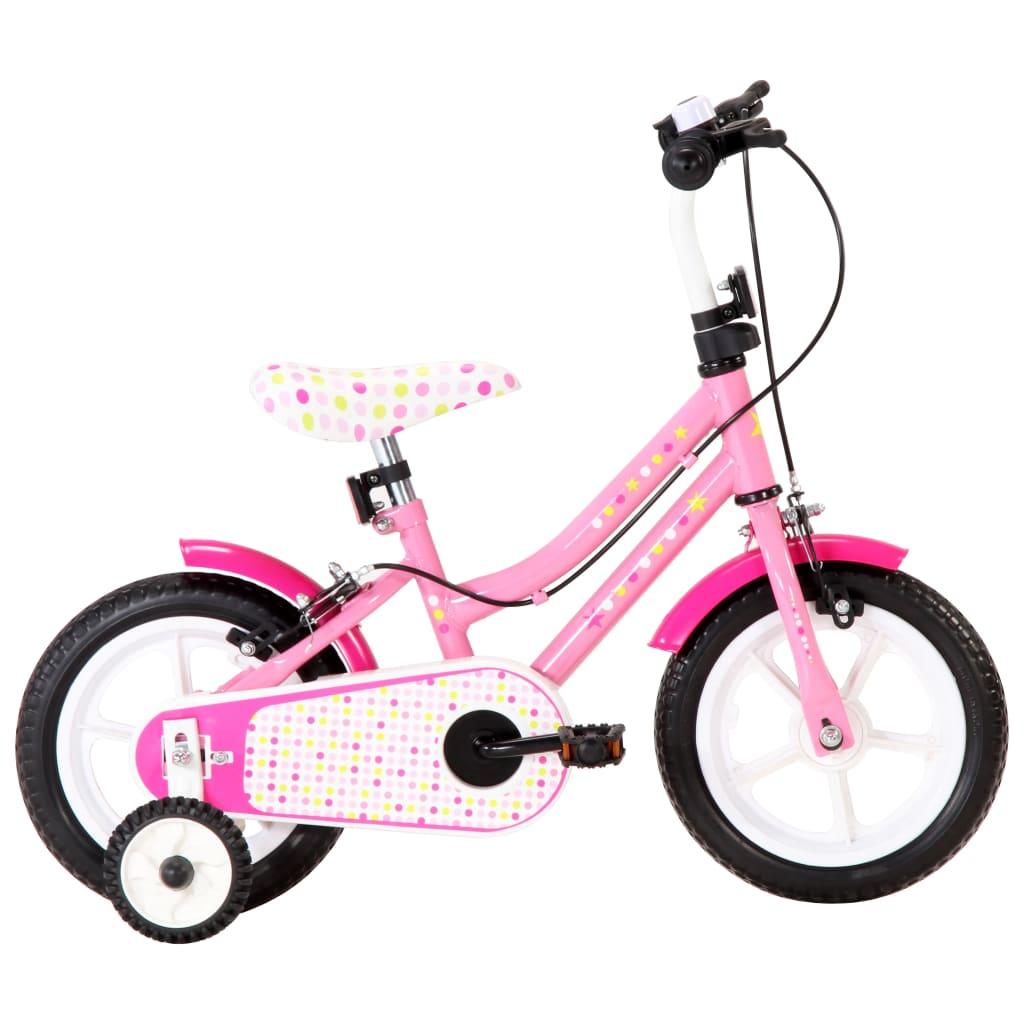 Vélo enfant 12 pouces blanc et rose