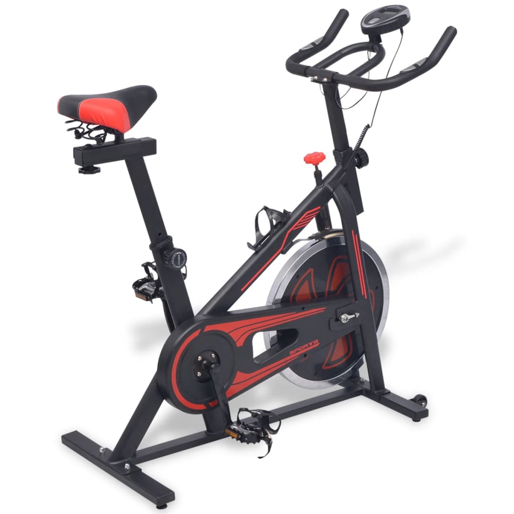 Exercise Spinning Bike with Pulse Sensors Black and Red