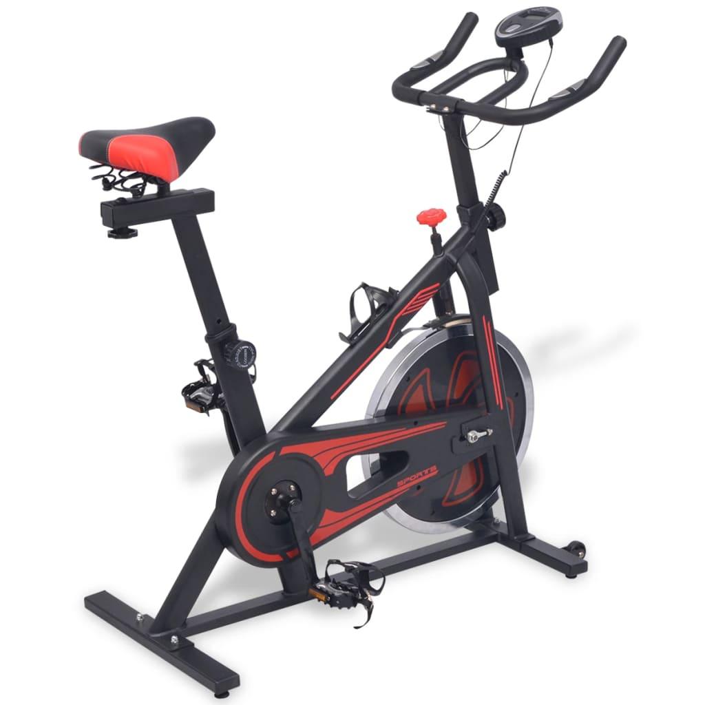 Спиннинг-велотренажер с черным и красным датчиками пульса