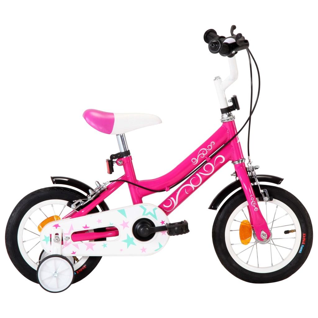 Vélo enfant 12 pouces noir et rose