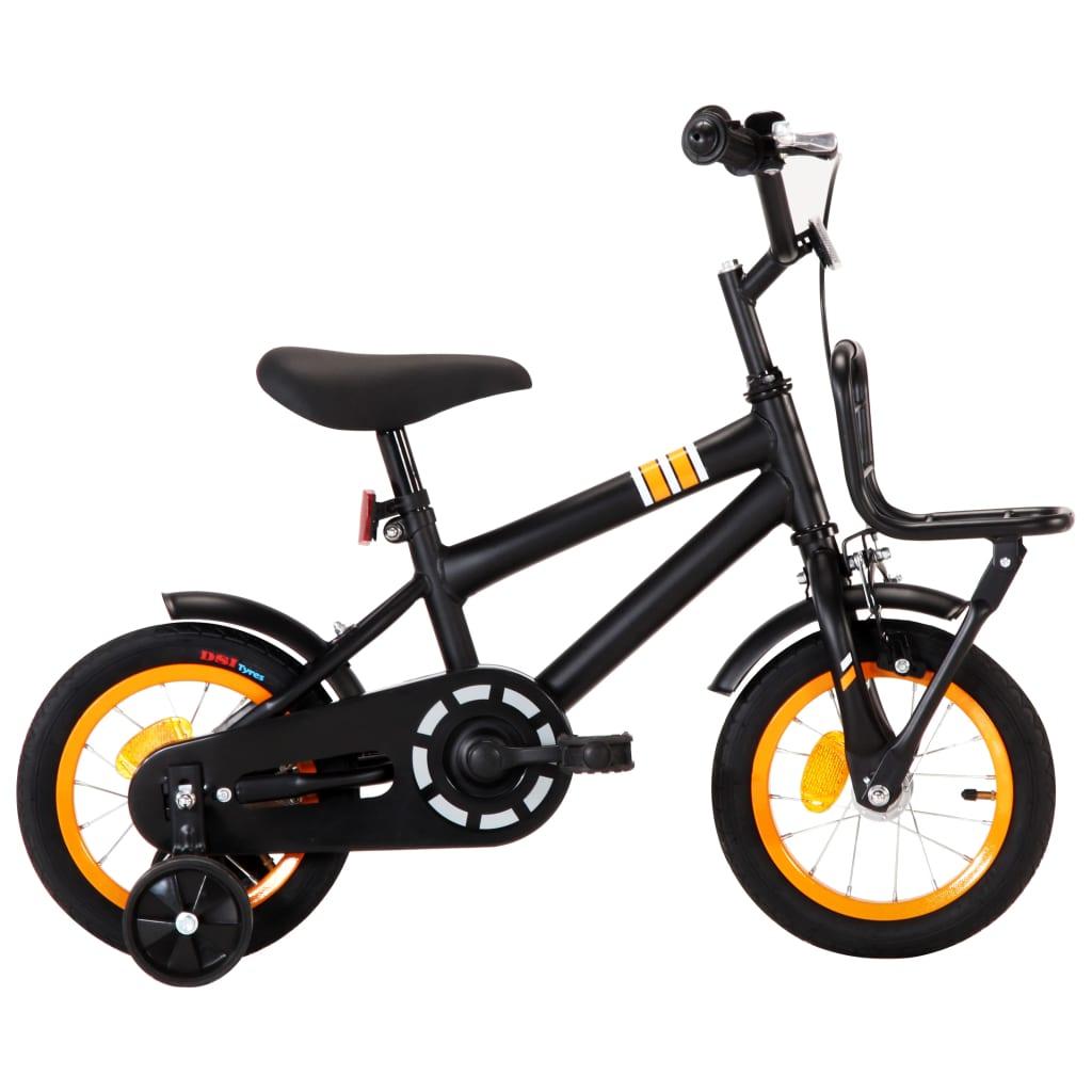 Vélo enfant avec porte-bagages avant 12 pouces noir et orange