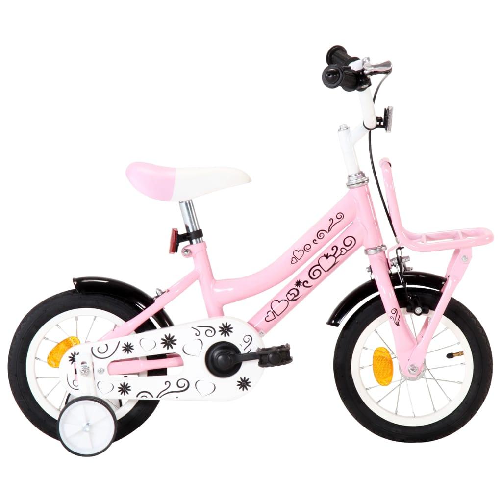 Vélo pour enfants avec porte-bagages avant 12 pouces blanc et rose