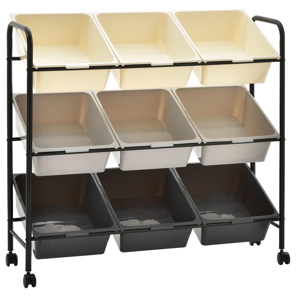 Carrello portaoggetti a 9 cestini in plastica Ombre