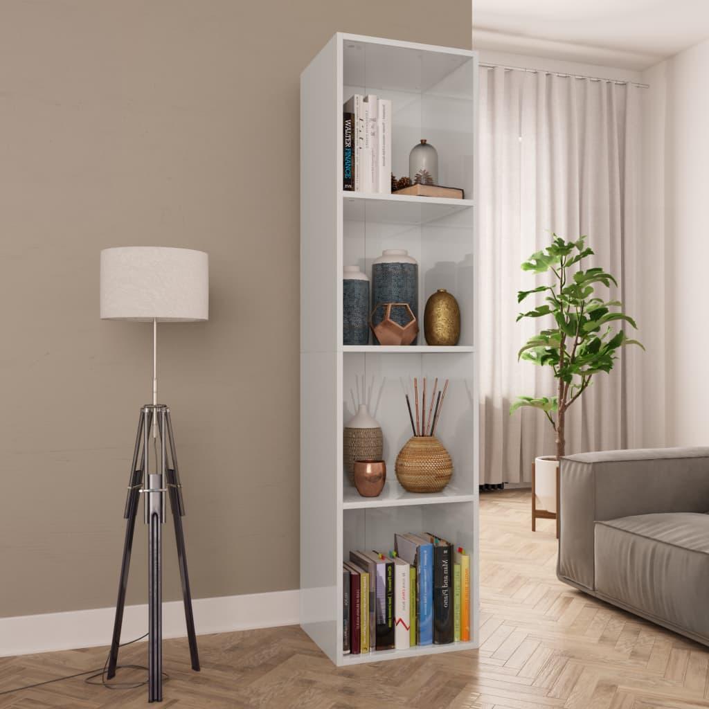 Meuble livre / meuble TV blanc brillant 36x30x143 cm aggloméré