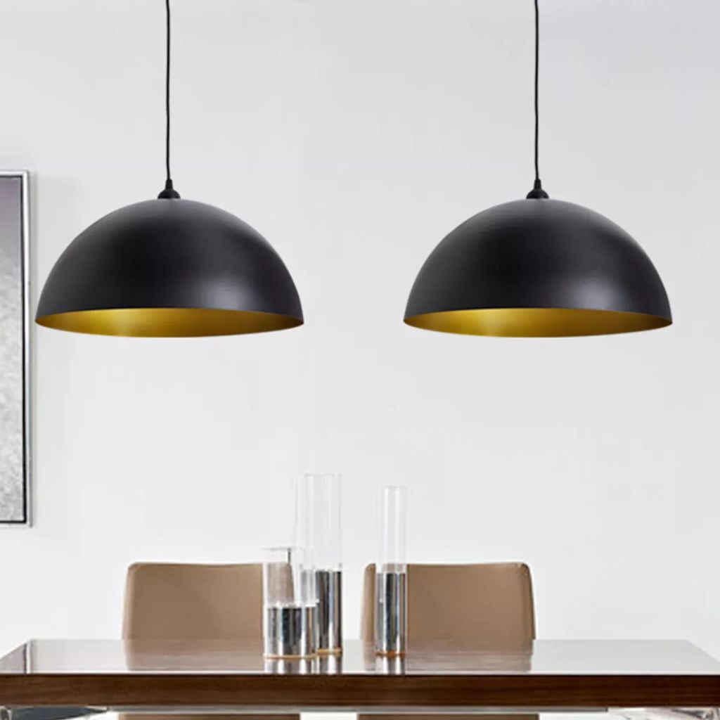 Ceiling Lamp 2 pcs Height-adjustable Semi-spherical Black