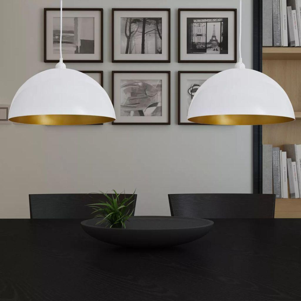 Lâmpada de teto 2 peças branca semi-esférica com altura ajustável