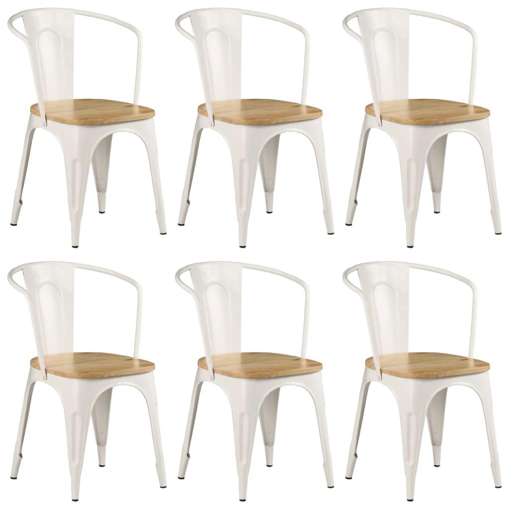 Yemek Sandalyeleri 6'lı Beyaz Masif Mango Ahşap