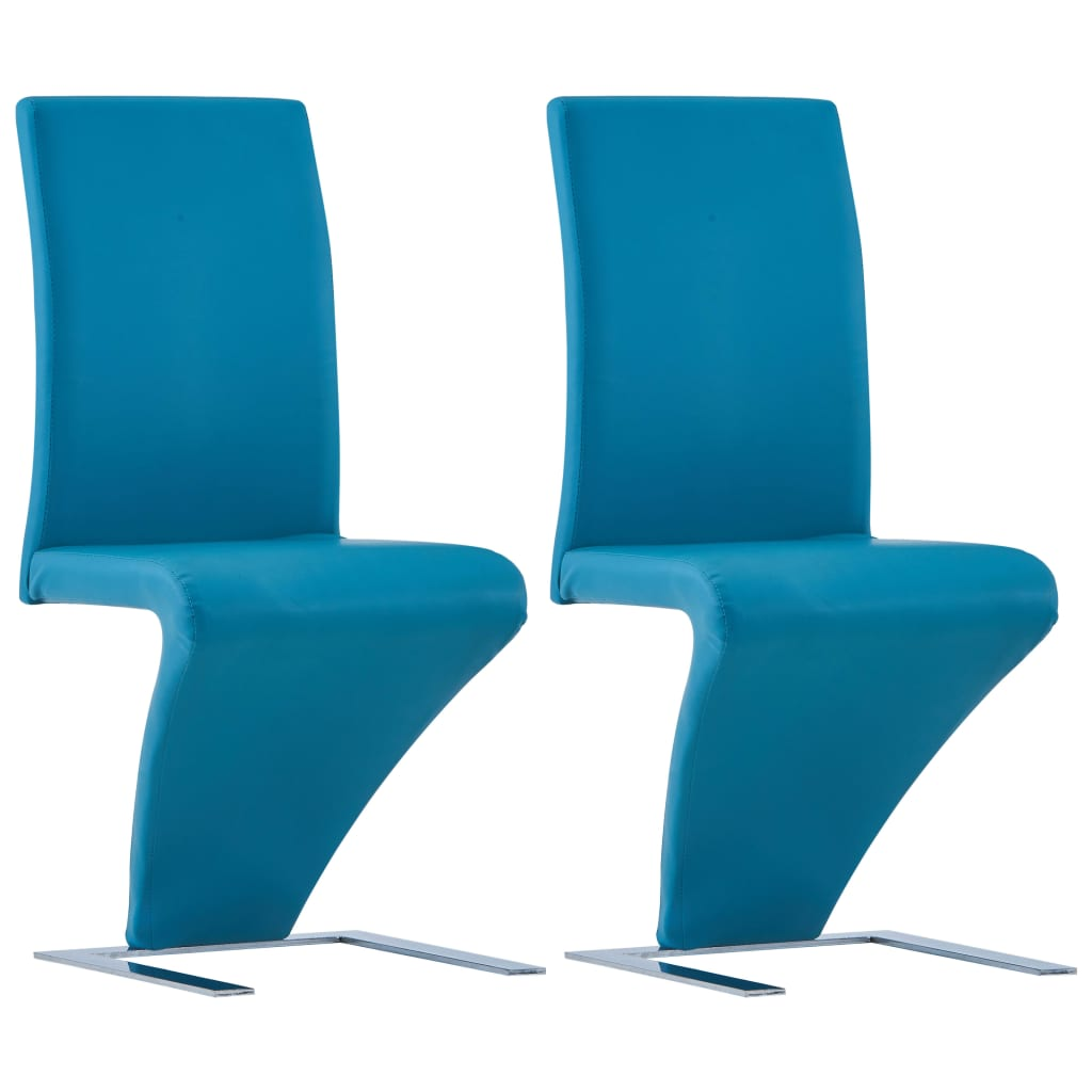 Zikzak Şekilli Yemek Sandalyeleri 2'li Mavi Suni Deri