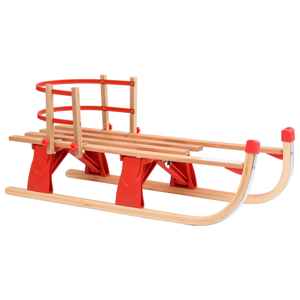 Folding Snow Sledge with Backrest 110 cm Wood