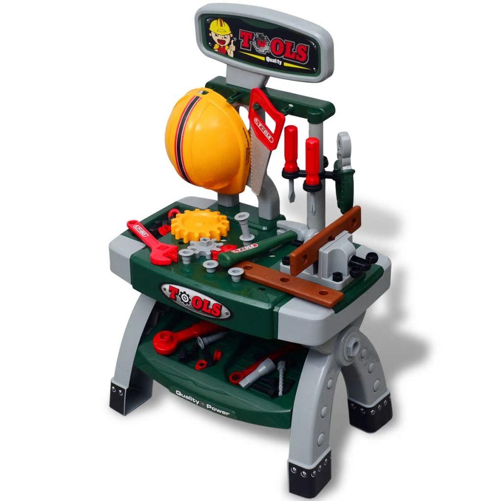 Banco de trabajo de juguete para sala de juegos para niños / niños con herramientas Verde + Gris