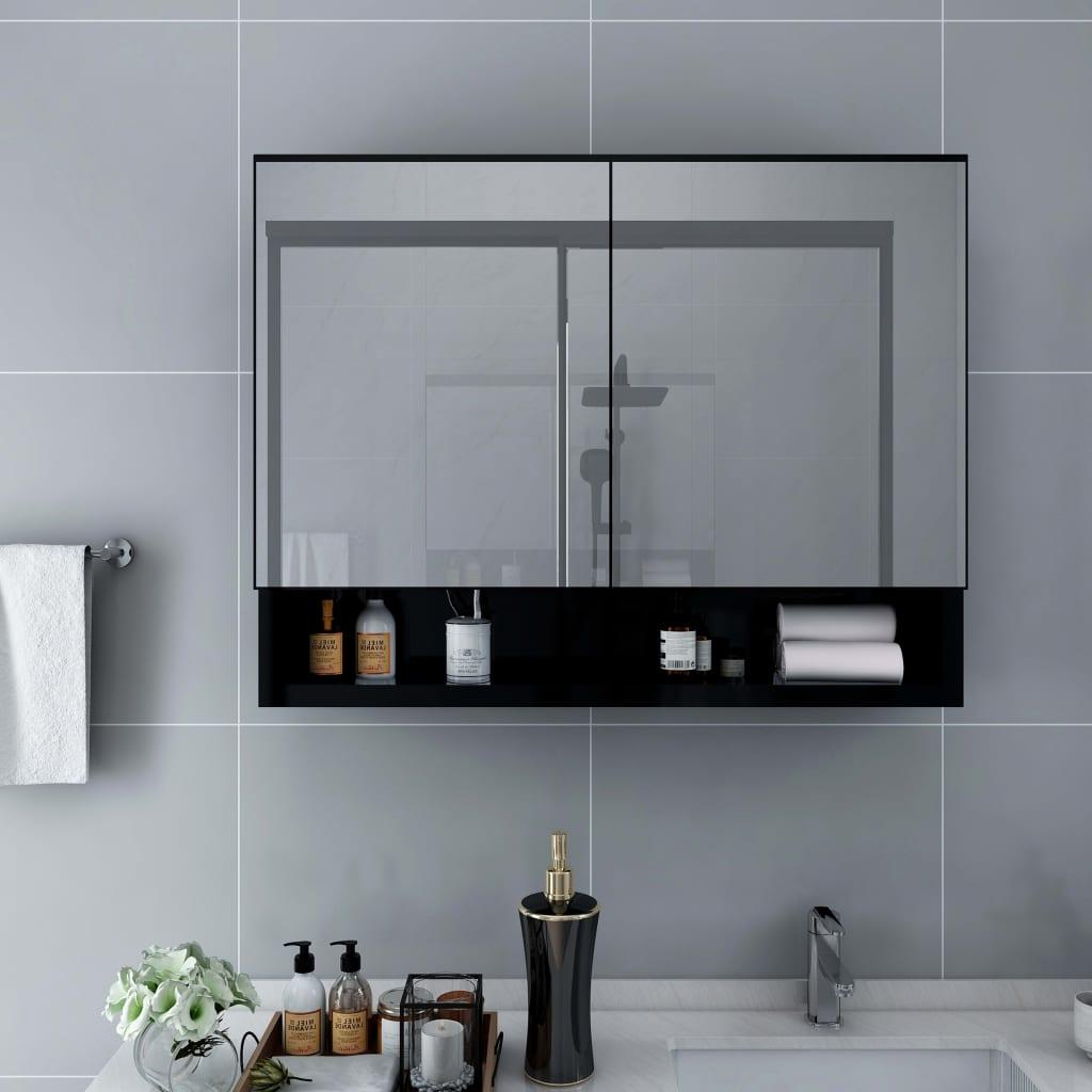 LED ตู้กระจกห้องน้ำสีดำไม้ MDF 80x15x60 ซม