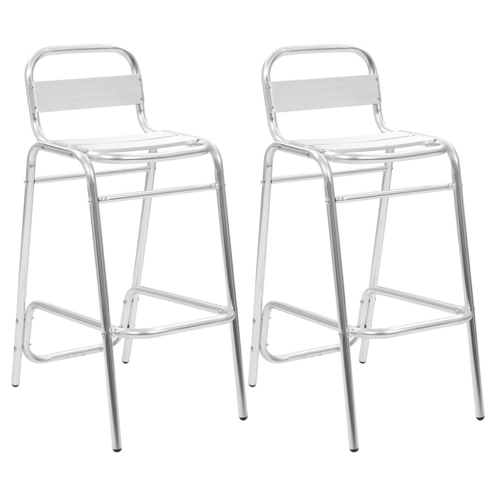 เก้าอี้บาร์วางซ้อนได้อลูมิเนียม 2 ชิ้น