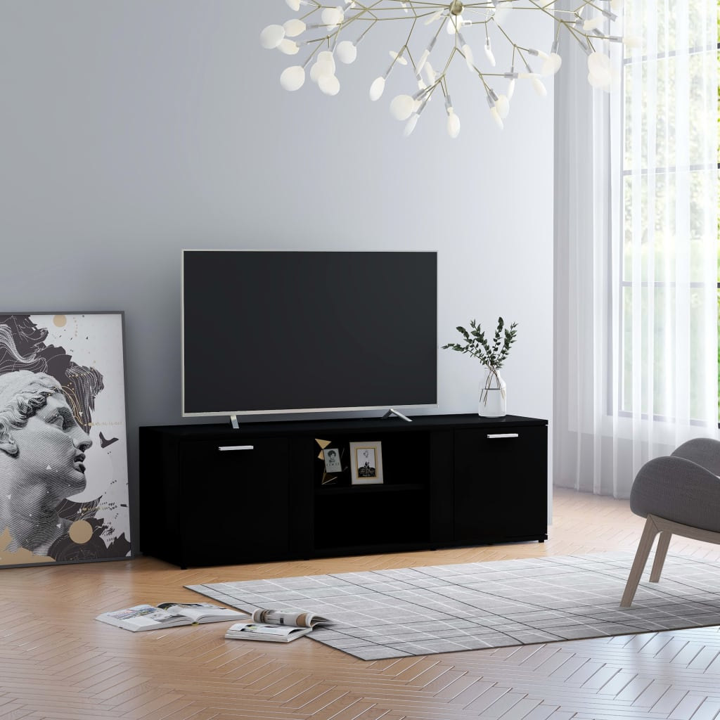Meuble TV noir 120x34x37 cm aggloméré