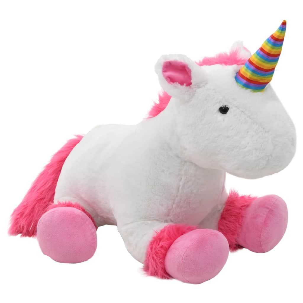 ตุ๊กตายูนิคอร์นน่ากอดสีชมพูและสีขาว